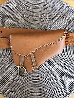 Authentic Christian Dior Leather Belt Saddle Bag Pouch In Tan