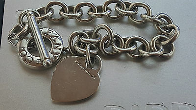 "Authentic Tiffany & Co Sterling Silver Heart Toggle Bracelet 7.5"" inches -USED-"