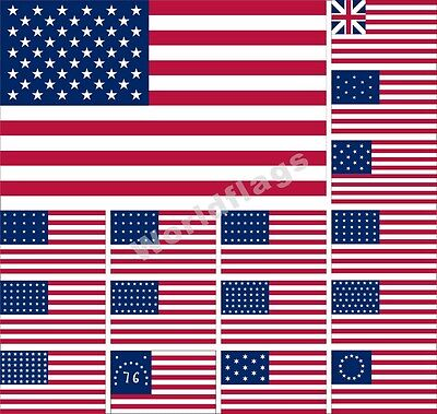 US Flag 3X5FT Bennington Hopkinson Grand Union Betsy Ross World War 13 48 Star