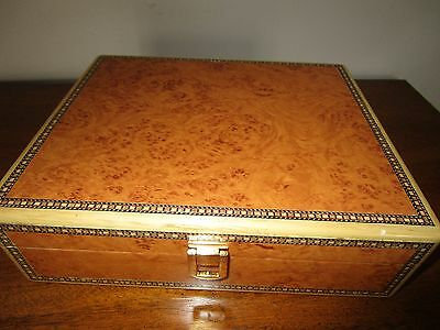 Vintage Burled Birdseye Maple & Inlaid Wood Cigar Humidor