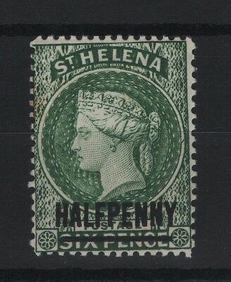 St. Helena.1884/94 SG 35 1/2d on 6d Green. Opt. 17mm. Mint No Gum Nicely Centred