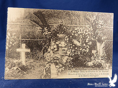 Litho PC Nurse Edith Cavell & Philippe Bacque Tombs WWI Cemetery du Tir National