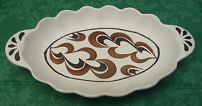 Radford hand painted handled shallow dish geometric pattern display collect
