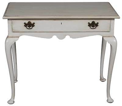 Vintage Painted Table Desk on Legs w Drawer Queen Anne Legs Distressed Small
