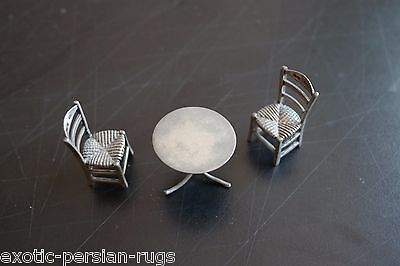 Antique Miniature Silver  Set Of 2 Chairs And One Table