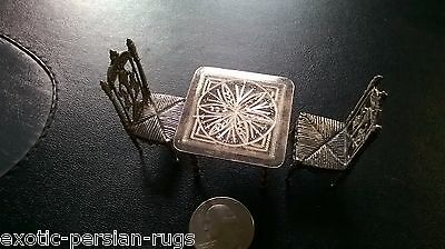 Antique Miniature Silver  Set Of 2  Dutch Chairs And One Table