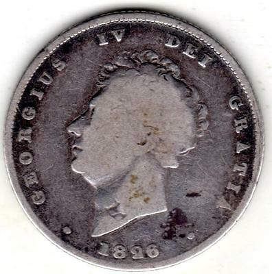 1826 King George IV Solid Sterling Silver Vintage Shilling Great Britain UK