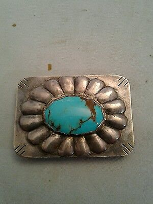 Sterling silver Ladies Belt Buckle with Turquoise Stone vintage