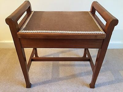 Vintage solid wooden piano stool with storage