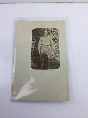 Wwi France Military Photo Post Card Of Drummer Boy