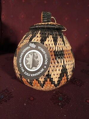 Handmade Woven African Zulu Small Herb Spice Basket, NEW With tags