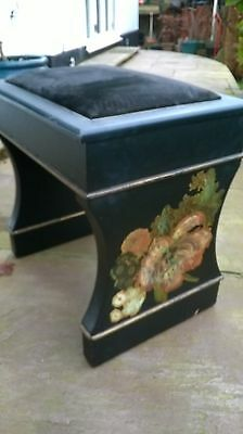piano stool in black with decorative hand painted end panels