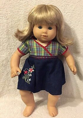 American Girl Doll Bitty Baby Twin Blond Hair Blue Eyes Plaid Outfit