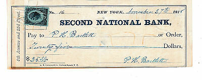 Second National Bank,  New York  1878   Revenue Stamp