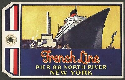 French Line NORMANDIE 1935 MAIDEN VOYAGE Luggage Tag Ӝ