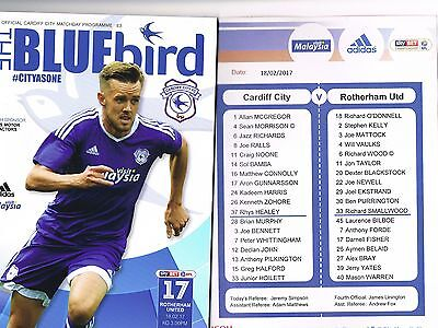 Cardiff City v Rotherham United 16/17 + Official Teamsheet