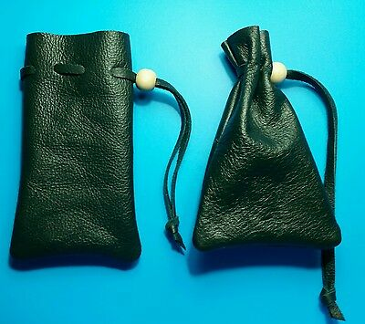 Small dark green leather bag pouch drawstring renaissance medieval dice coin