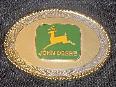 JOHN DEERE Gold/Silver LOGO Oval Western Belt Buckle Green/Yellow Agriculture