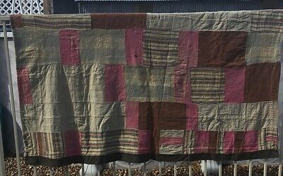 "Vintage Turn Of The Century Wool Army Quilt 54""x72"""