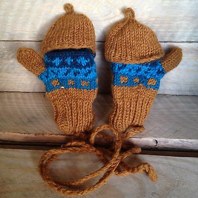 Kids Toddler Hand knitted Nepal Wool Fingerless Gloves/mittens On String