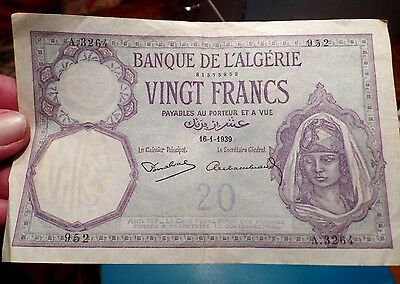 16th January 1939 Algeria 20 Francs  Banknote Almost Mint