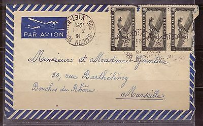 1951 French colony letter Par Avion, Indo China 3x $1 air stamps to Marseilles