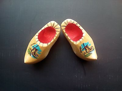 Vintage Souvenir of Holland Pair of Miniature Wooden Clogs With Windmill Design