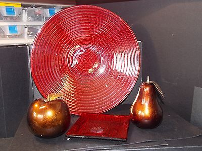 Large red glass fruit bowl 27cm and coaster apple and pear