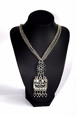Scooter - Long Silver Metal Chain Necklace with Black Tribal Statement Pendant