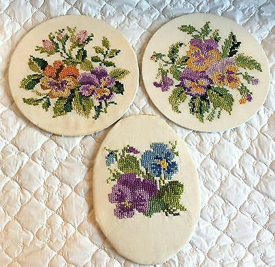 3 Oval/ Round Pansy Cross Stitch/Needlework Pieces - ready for framing (65a)