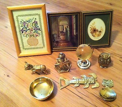 Small Brass ornaments windmill bottle opener Globe donkey owl wall picture
