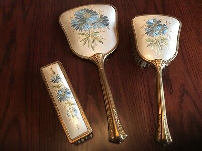 Vintage embroidered dressing table vanity set beautiful Made in England