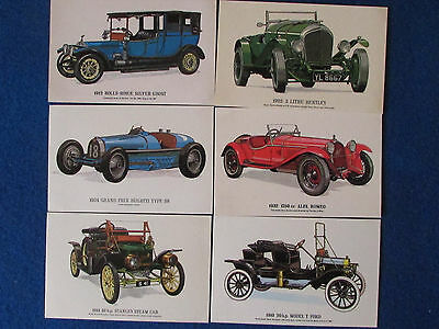 Vintage Motor Car Postcards - Lot of 6 - Collectors Reproductions Series