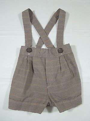 Vintage Baby Boys 6-9 Mos. Brown Crinkle Cotton~Shorts/Suspenders~OldFashPics