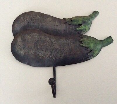 Wall hook - metal - aubergine - shabby chic