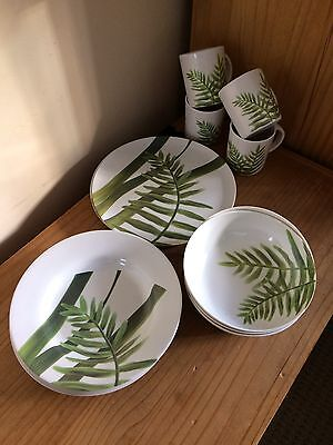 camping melamine set 4 cups, plates, bowls, dishes