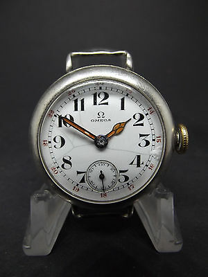 vintage WW1 era Silver OMEGA military dial trench watch.....