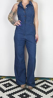 Denim Jumpsuit UK 10 Small approx. 1990's  All in one Vintage (4DO)
