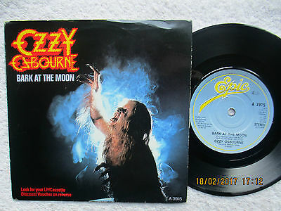 "Ozzy Osbourne - Bark At The Moon/one Up The B Side - 1983 7"" Vinyl Single G/vg+"