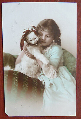 Vintage Cat Postcard- Glamour/Girl with White Persian
