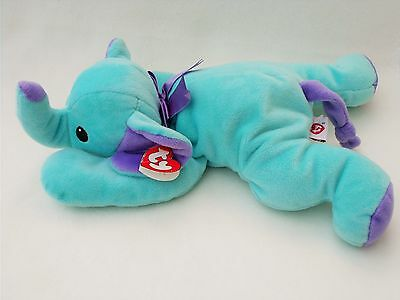 Ty Pillow Pals Elephant Squirt Soft Toy Elephant Cuddly Teddy Blue and Purple