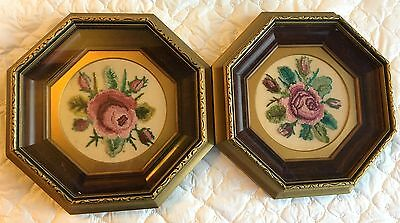 2 Professionally Framed/Matted Octagon Petit Point wih Roses (70a)