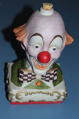 Vintage Ezra Brooks Clown Liquor Porcelain Decanter Bottle 1978 Smiley No Hat Ex