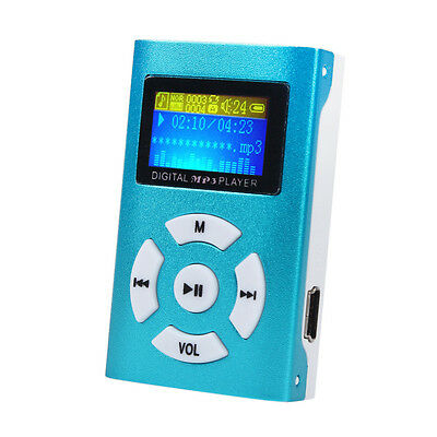 USB Mini MP3 Player LCD Screen Support 32GB Micro SD TF Card Blue MP3 Player new