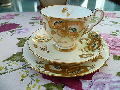 Stunning Vintage Royal Stafford China Trio Tea Cup Saucer Gilded Poppy Flower