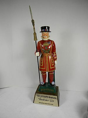 Beefeater Gin Figural Royal Guard Dry Gin Ceramic Decanter On Wood Base