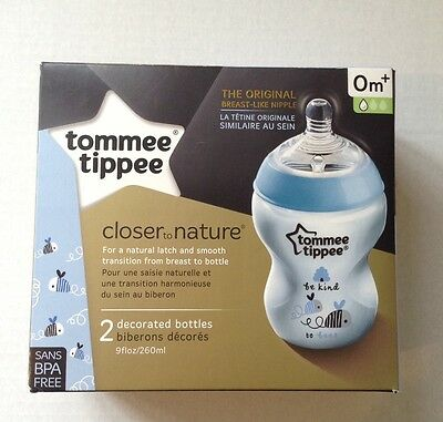Tommee Tippee Pack of 2 Closer to Nature 0m+ Bottles Blue Decorated
