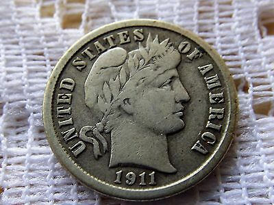 1911 Barber Dime 10 Cent  *  Early Silver Coin *