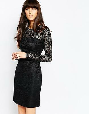 New Reiss Black Lace Celina Sheer Panel Bodycon Cocktail Dress Size 12 BNWT £170