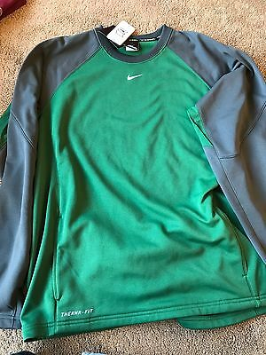 NWT Nike Therma-fit Crew Neck Sweatshirt Men's Large Green And Gray